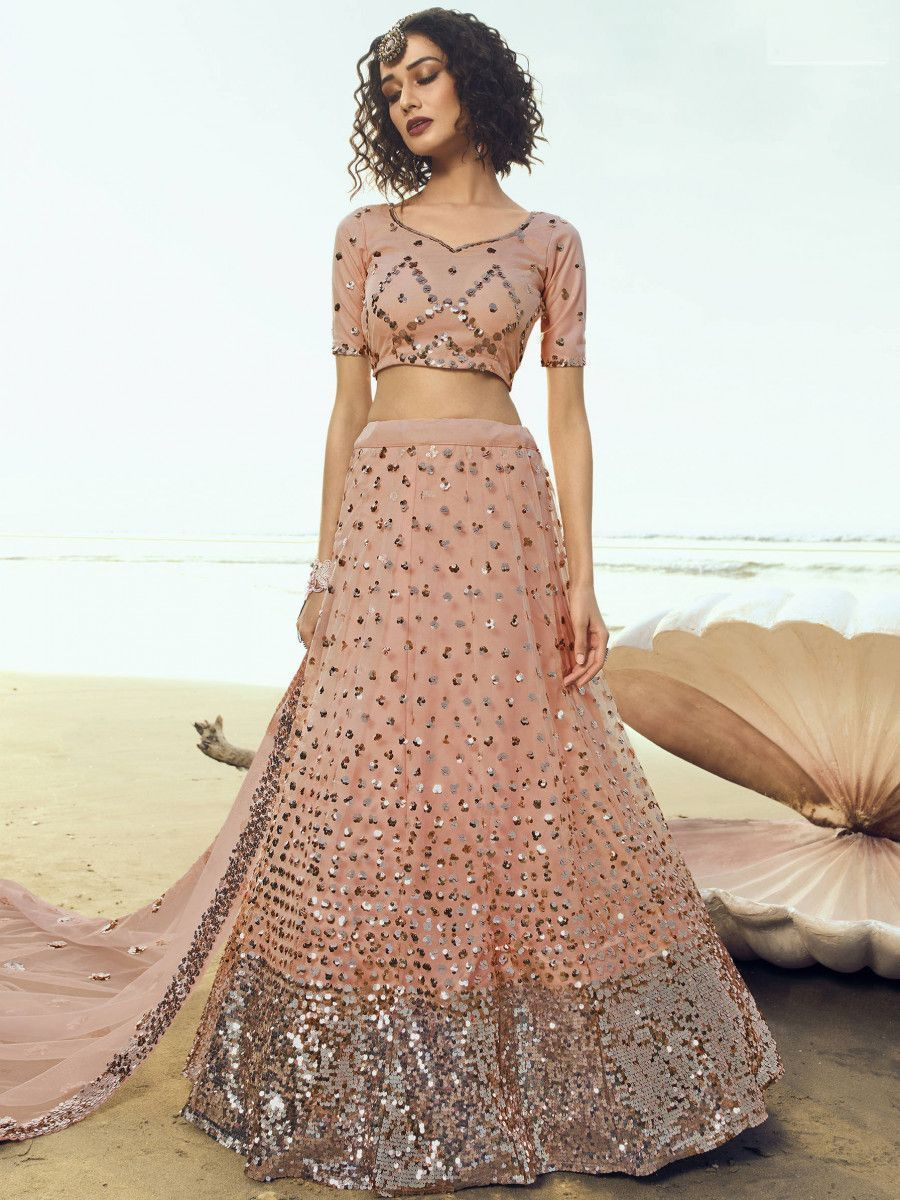 Peach Hanging Sequins Work Bridal Wear Lehenga Choli With Dupatta