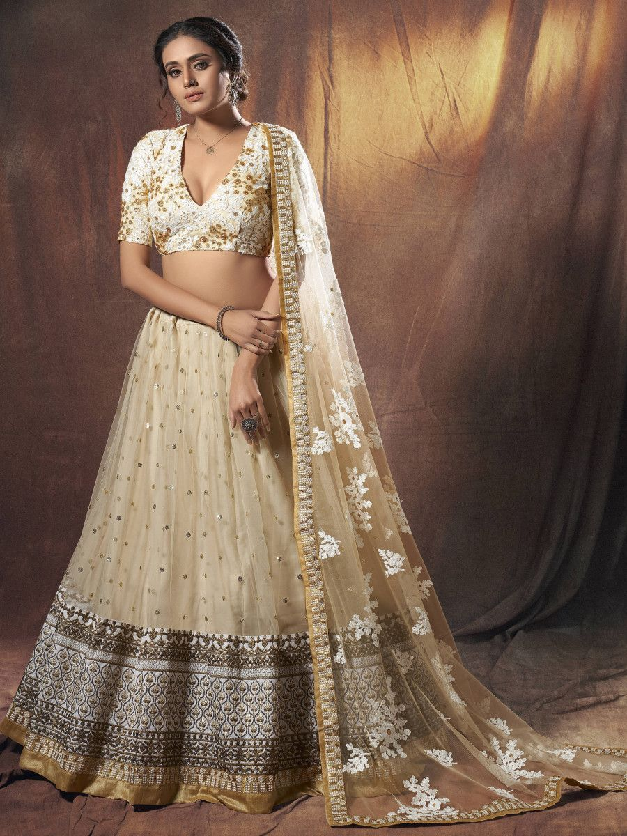 Beige Zari Embroidered Net Wedding Wear Lehenga Choli