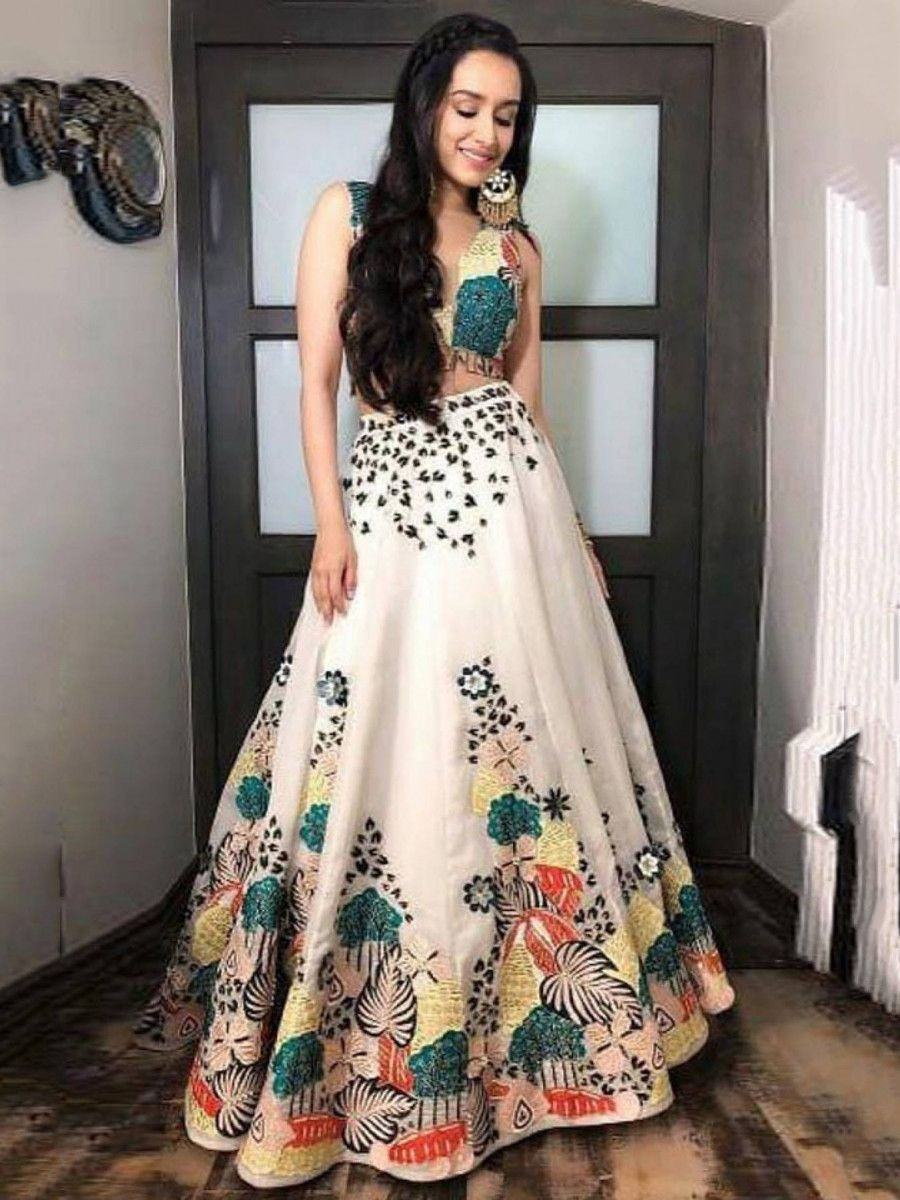 Shradhha Kapoor Off White Digital Printed Satin Party Wear Lehenga Choli With Dupatta