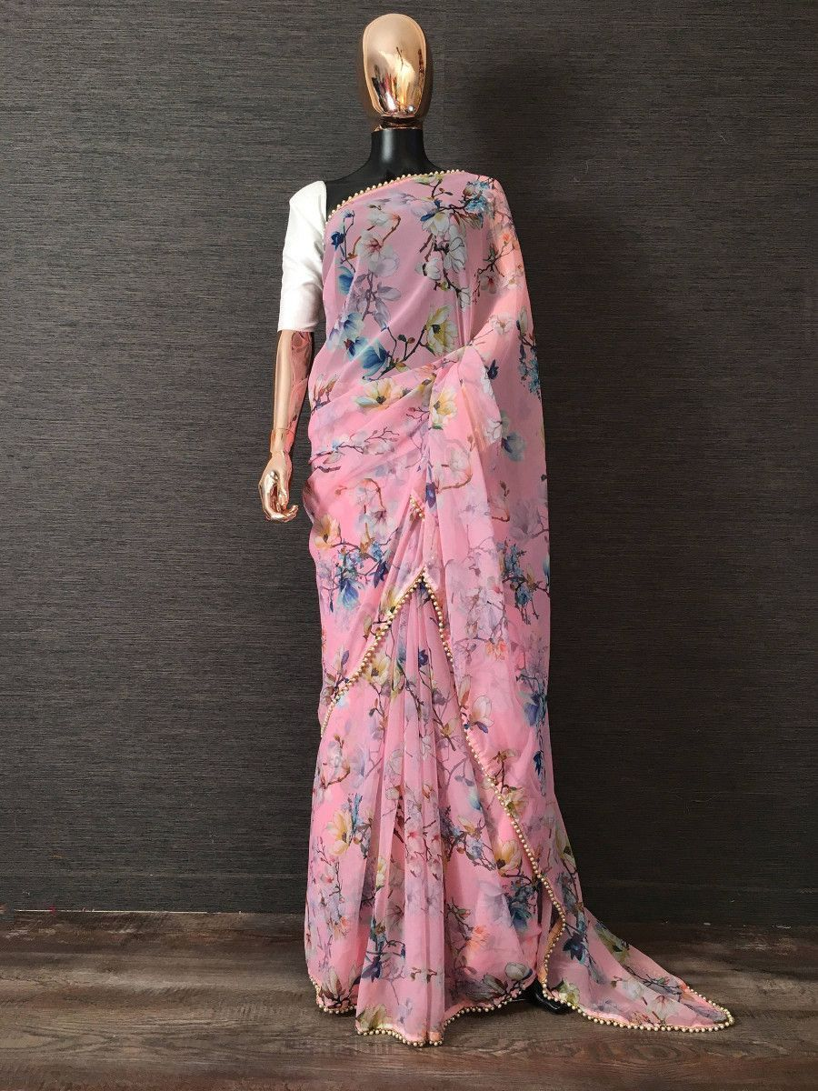 Pink Digital Printed Pearl Lace Party Wear Saree With Blouse