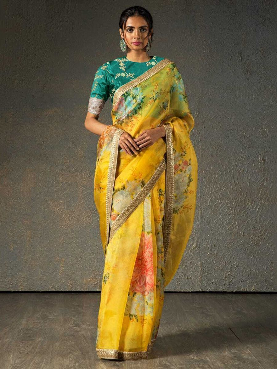 Sabyasachi Yellow Floral Orangza Wedding Wear Saree With Blouse