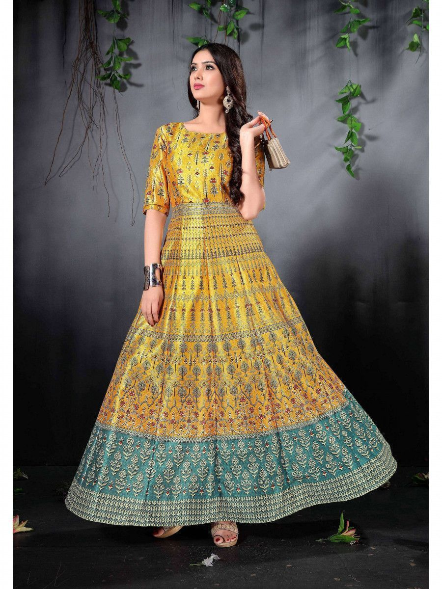 Yellow Digital Printed Phantom silk Readymade Partywear Gown