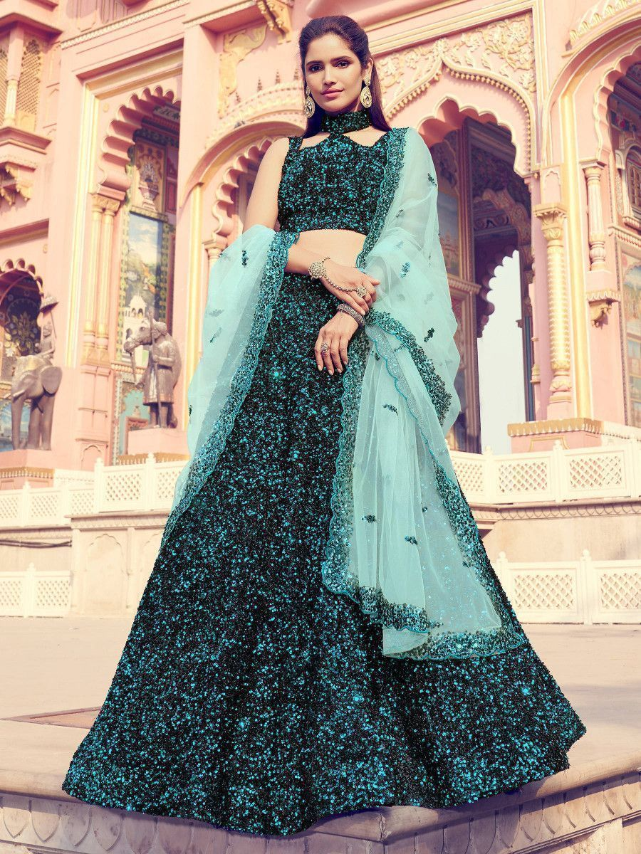 Teal Green Fully Sequins Fur Party Wear Lehenga Choli