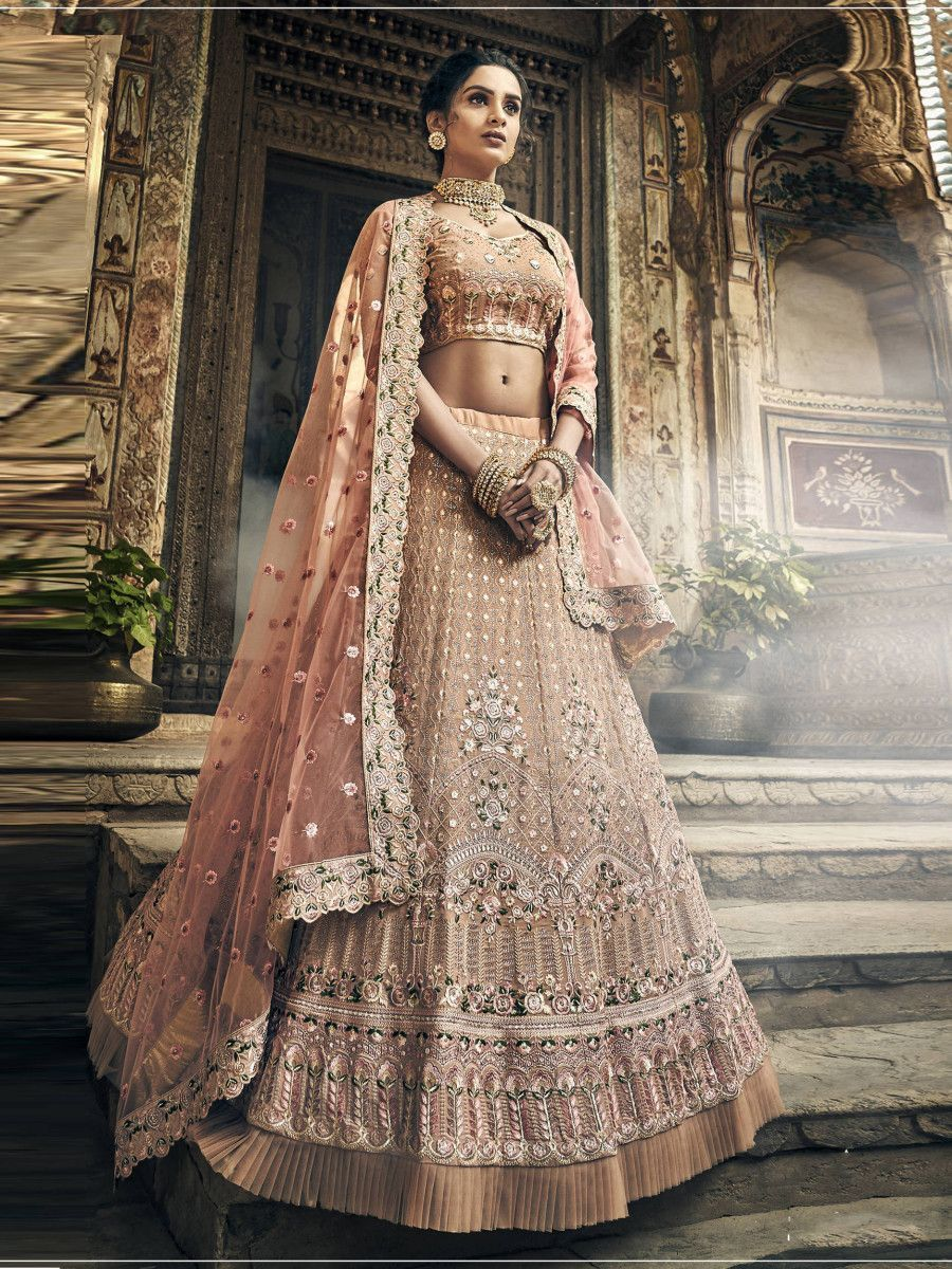 Peach Thread Embroidered Frilled Wedding Lehenga Choli