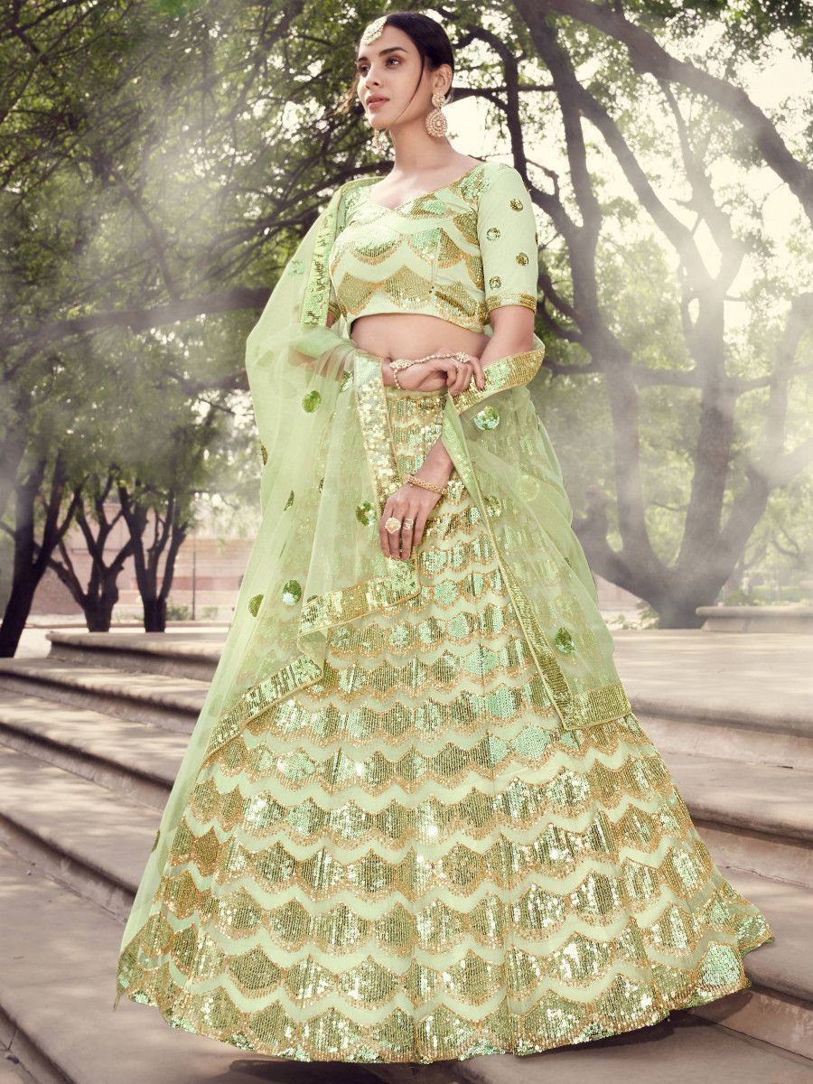 Pista Green Sequins Soft Net Party Wear Lehenga Choli