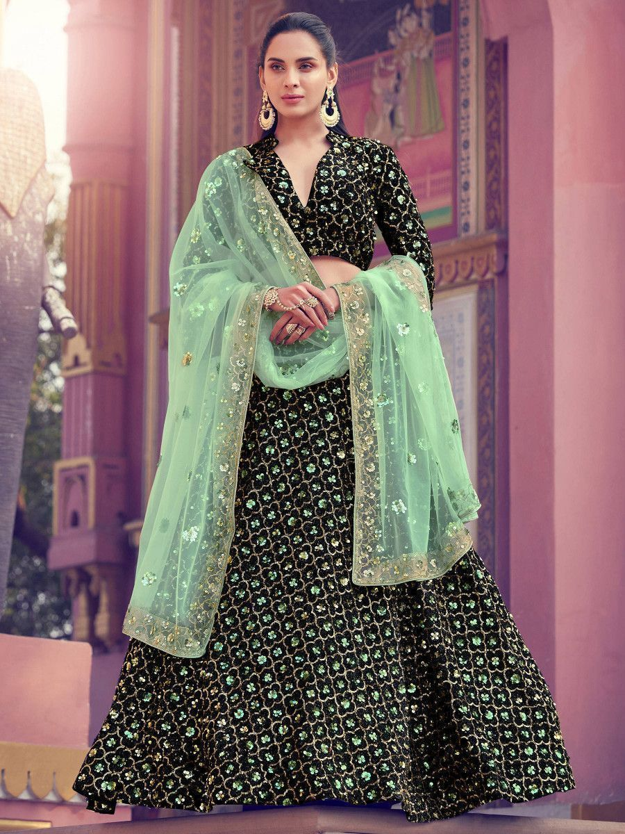 Green Fully Sequins Floral Fur Party Wear Lehenga Choli With Dupatta