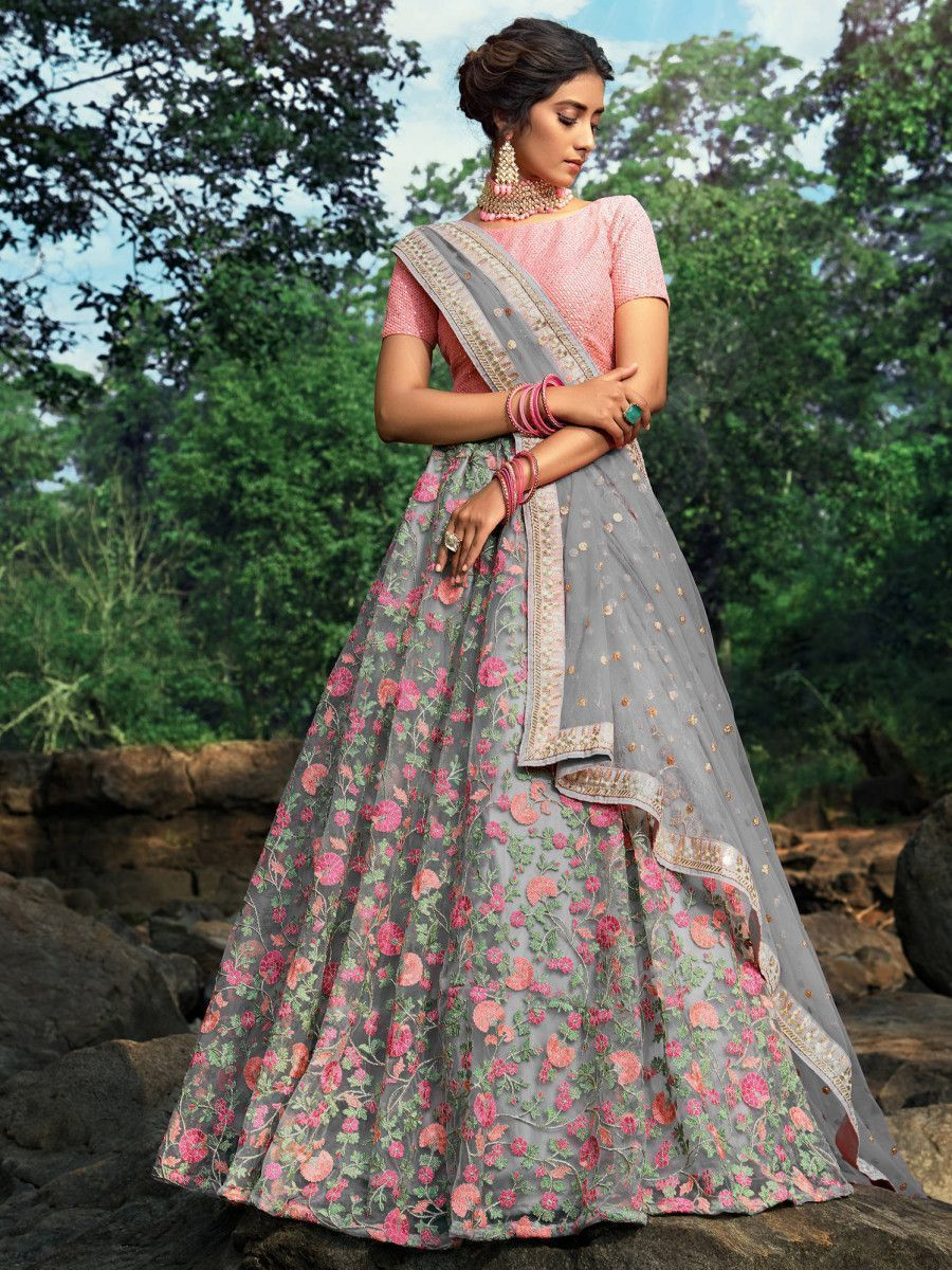 Gray Floral Thread Embroidered Soft Net Festival Wear Lehenga Choli