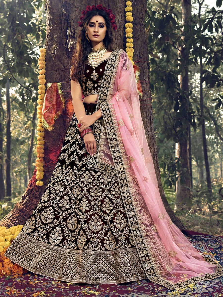 Maroon Dori Embroidered Stone Work Velvet Bridal Wear Lehenga Choli