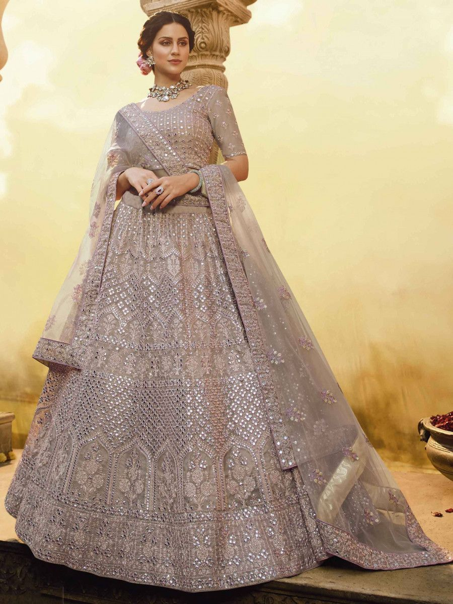 Grey Foil Mirror Work Butter Crepe Bridal Wear Lehenga Choli