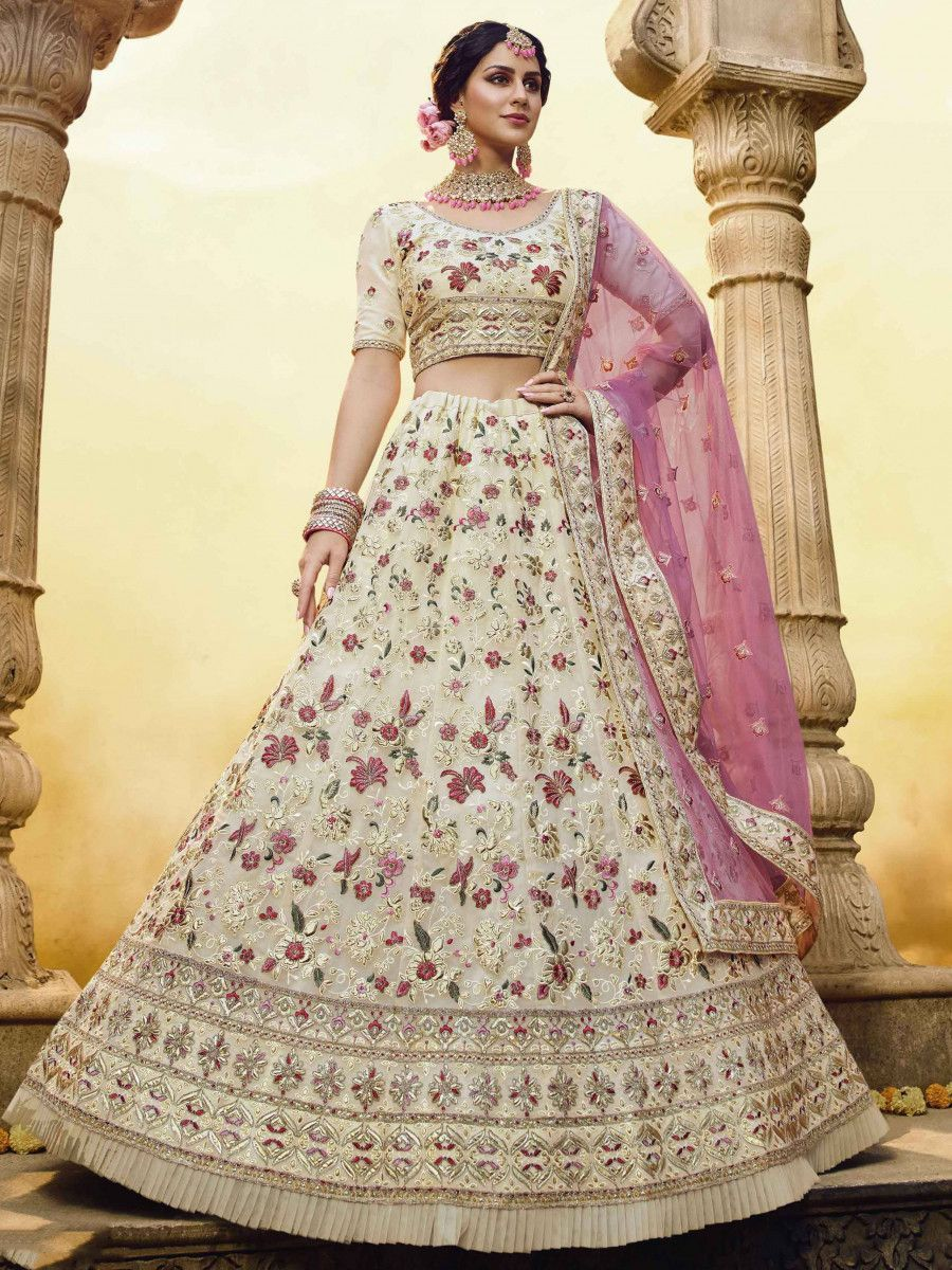 Off White Gota Thread Georgette Bridal Lehenga Choli With Pink Dupatta