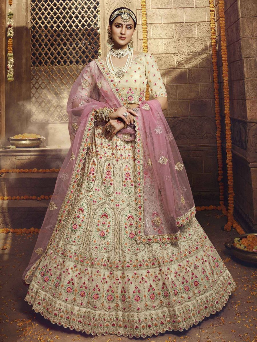 Cream Multi Thread Organza Bridal Lehenga Choli With Pink Dupatta