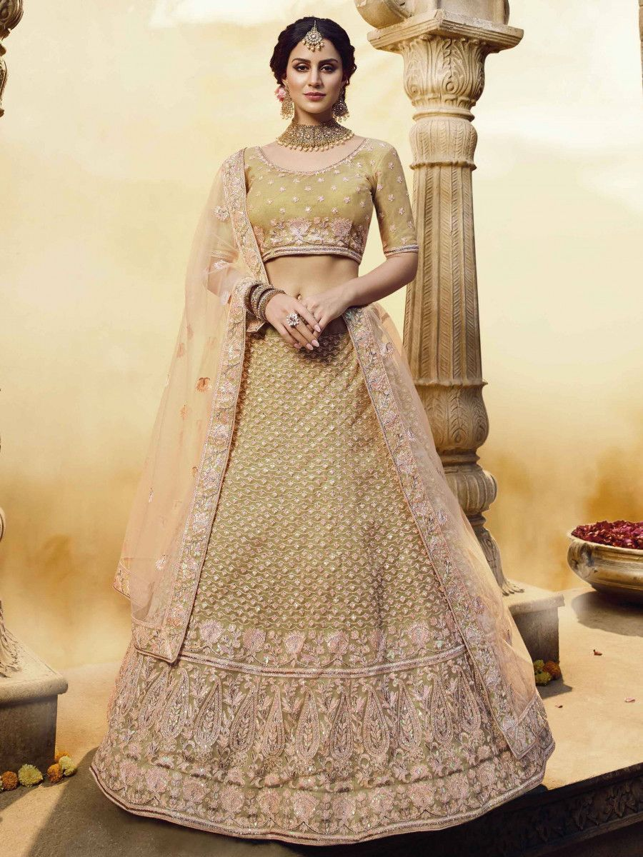 Golden Pearl Soft Net Bridal Wear Lehenga Choli