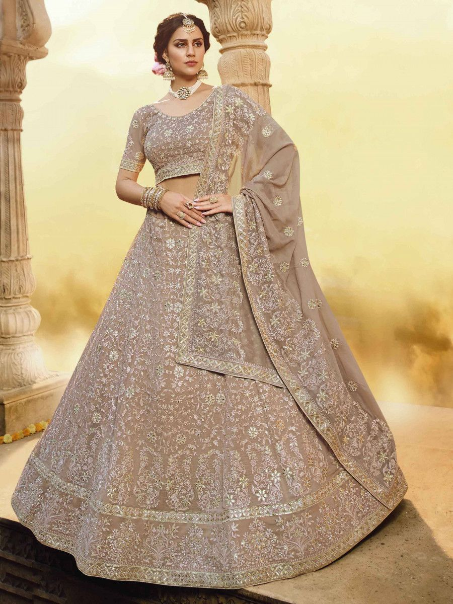 Brown Thread Embroidered Georgette Bridal Wear Lehenga Choli