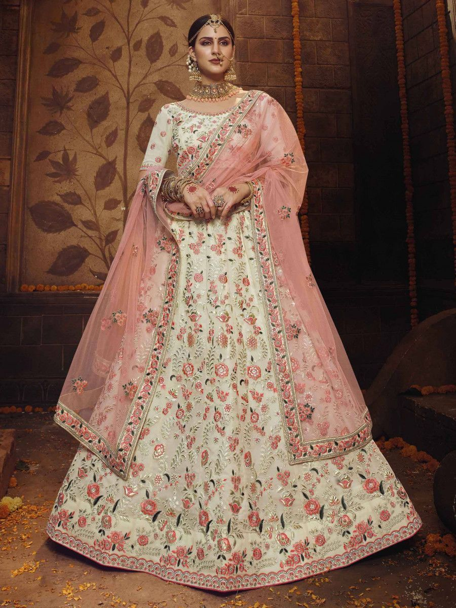 Off White Floral Georgette Bridal Lehenga Choli With Pink Dupatta