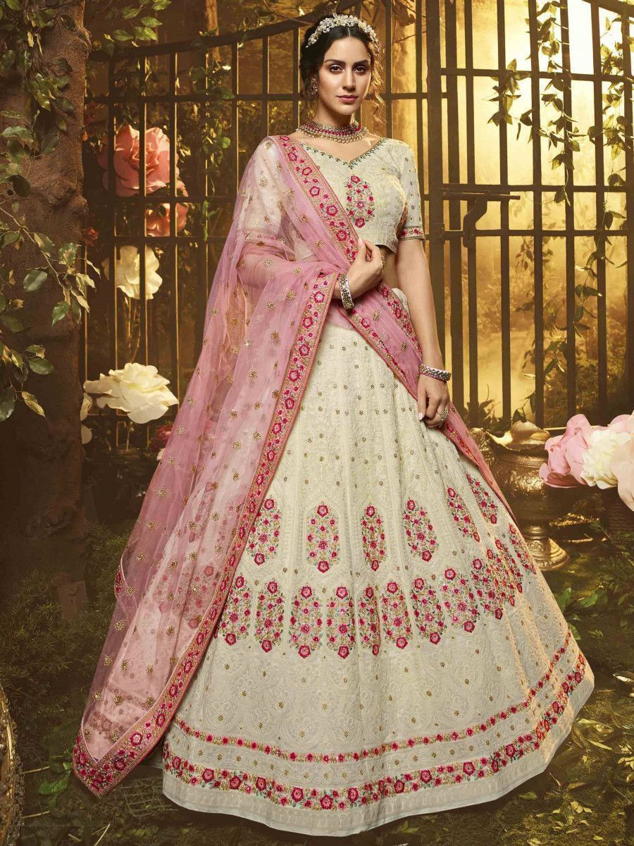 White Pink Floral Thread Georgette Wedding Wear Lehenga Choli