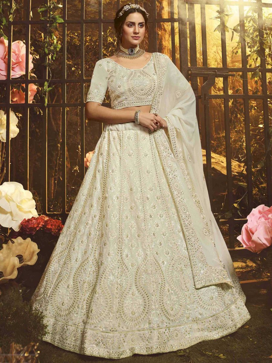 White Gota Thread Embroidered Georgette Wedding Wear Lehenga Choli