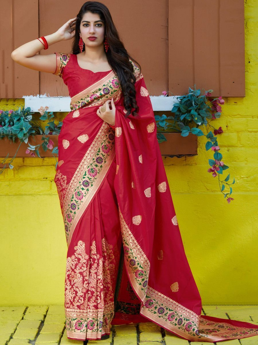 Coral Red Soft Silk Festive Wear Saree With Blouse