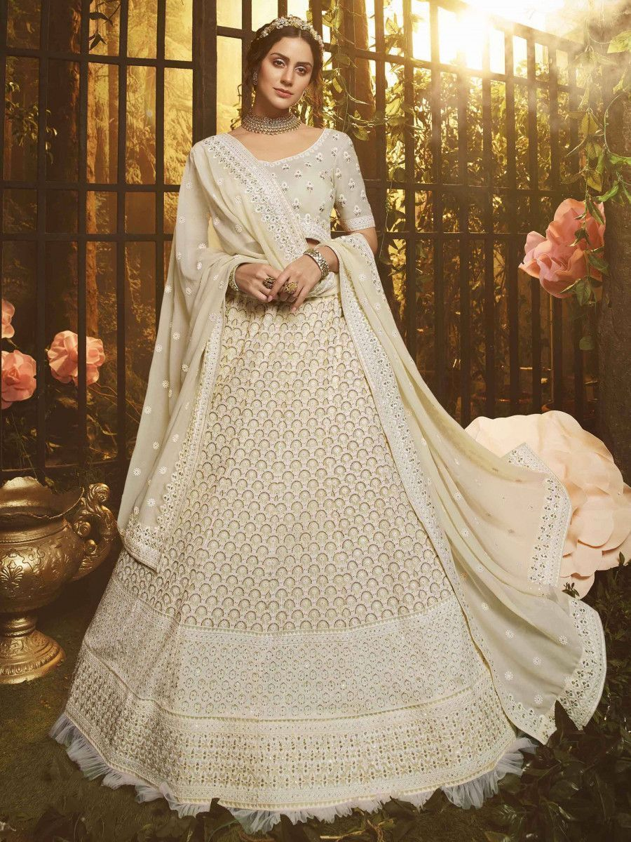 White Stone Thread Embroidered Georgette Wedding Wear Lehenga Choli