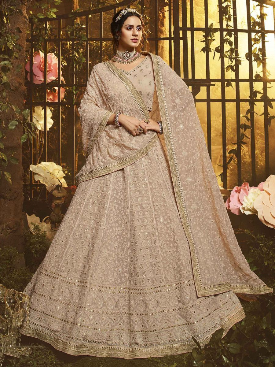 Beige Gota Thread Embroidered Georgette Bridal Lehenga Choli