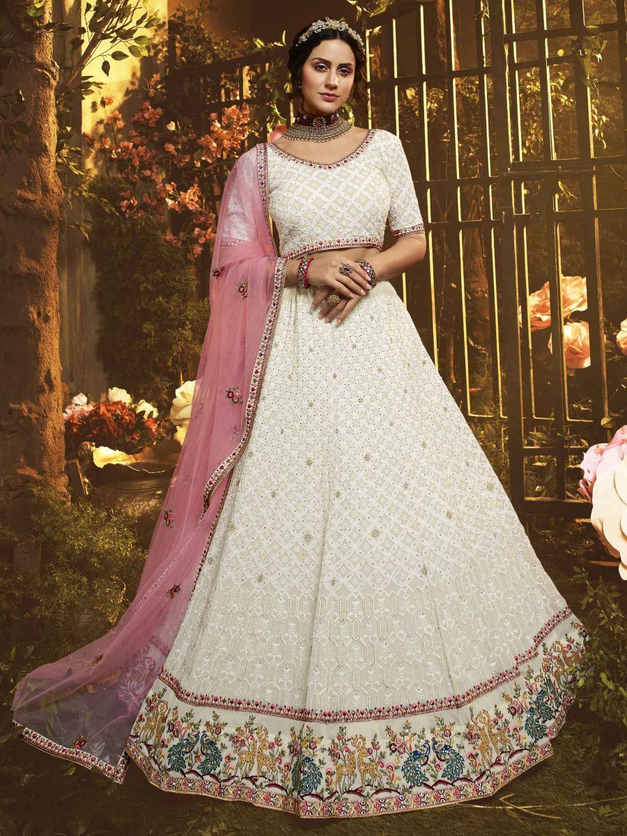 White Heavy Border Georgette Wedding Wear Lehenga Choli