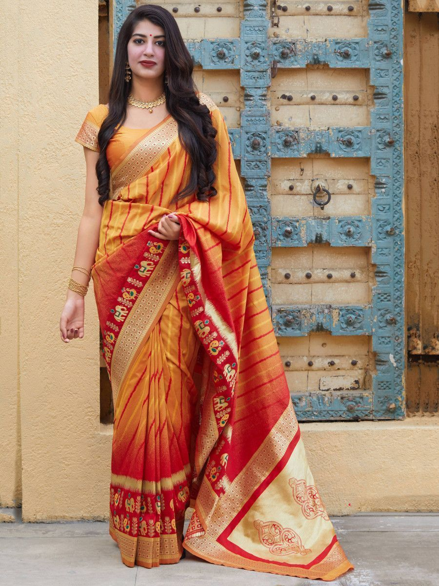 Yellow & Red Soft Silk Festive Wear Saree With Blouse