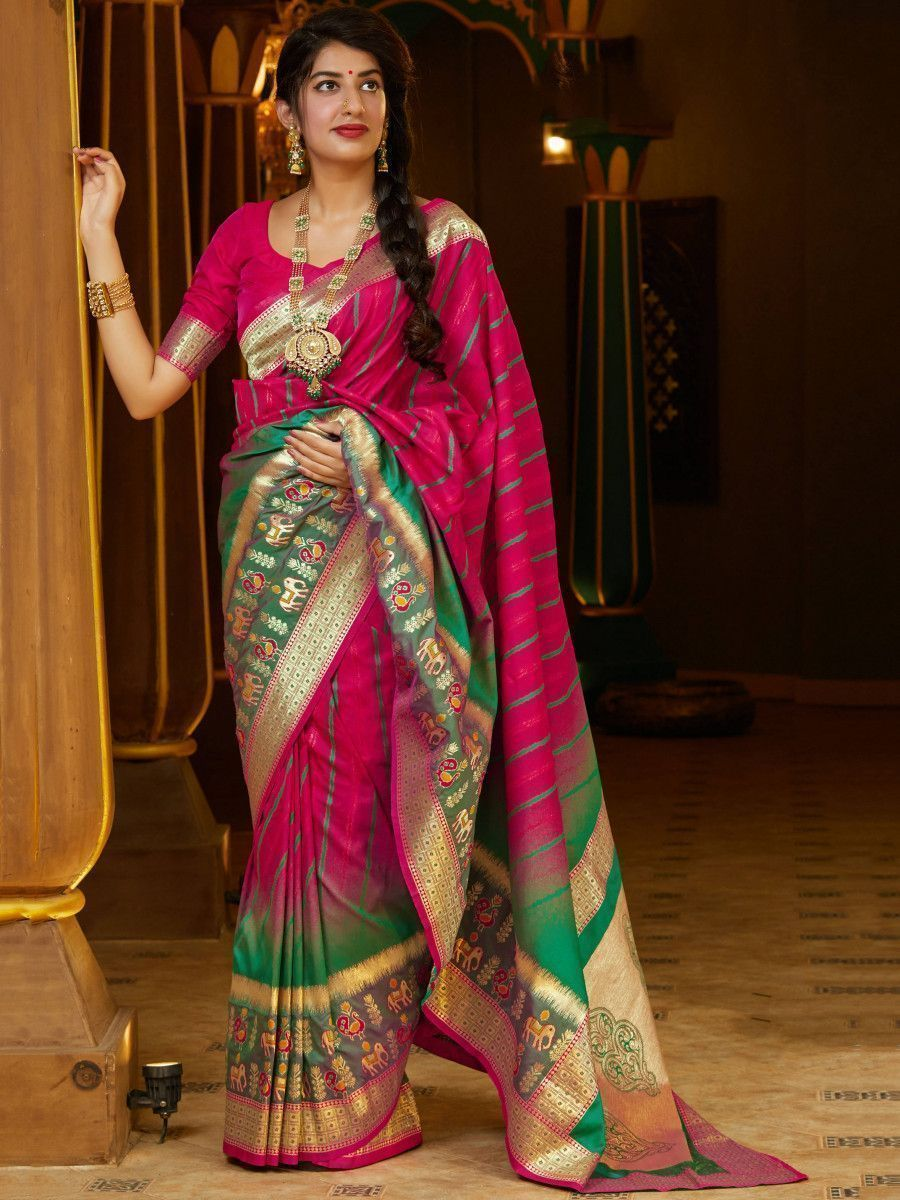 Green & Pink Soft Silk Festive Wear Saree With Blouse