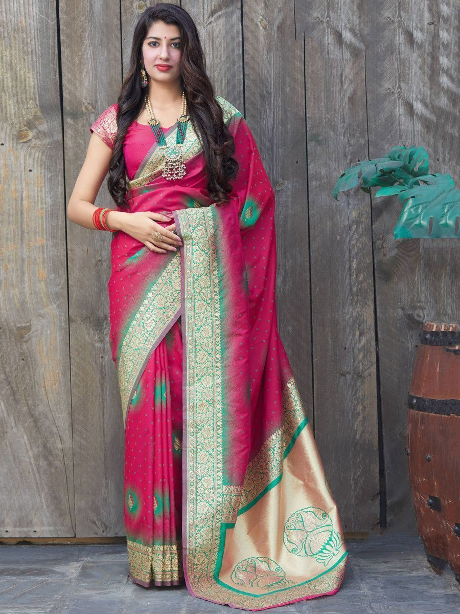 Hot Pink Soft Silk Festive Wear Saree With Blouse