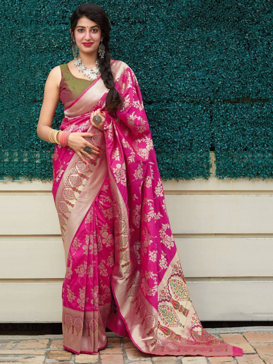 Pink & Green Soft Silk Festive Wear Saree With Blouse