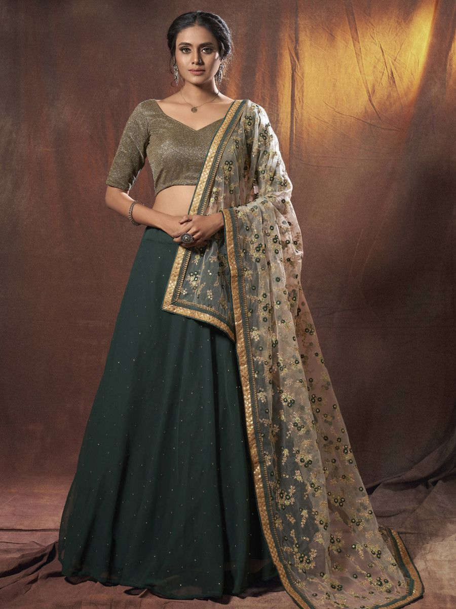 Green Sequins Georgette Wedding Wear Lehenga Choli With Dupatta