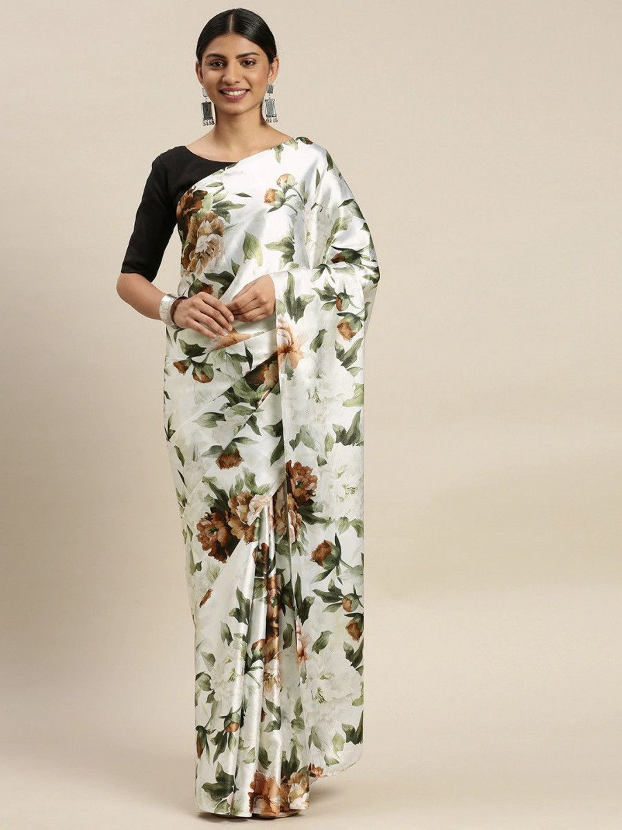 White & Green Satin Printed Myntra Saree