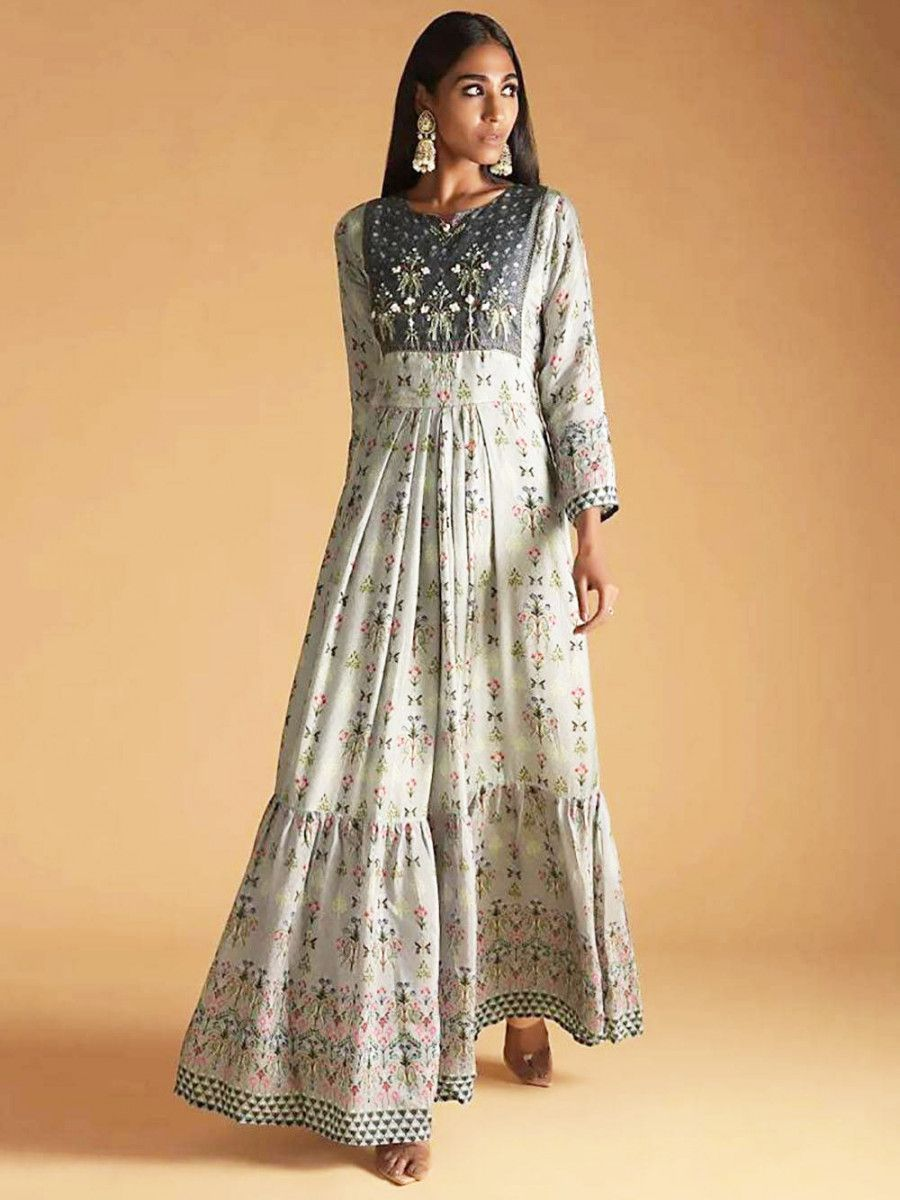 Grey Floral Printed Maslin Festive Wear Ready To Wear Long Gown