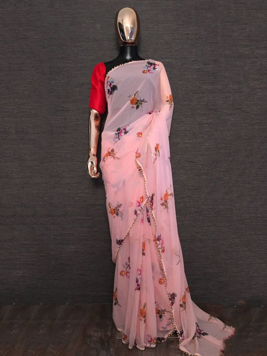 Peach Floral Printed Georgette Festival Wear Saree With Blouse