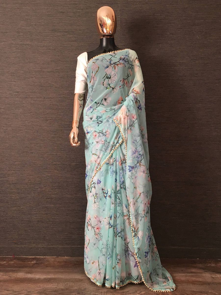 Blue Digital Printed Pearl Lace Party Wear Saree With Blouse