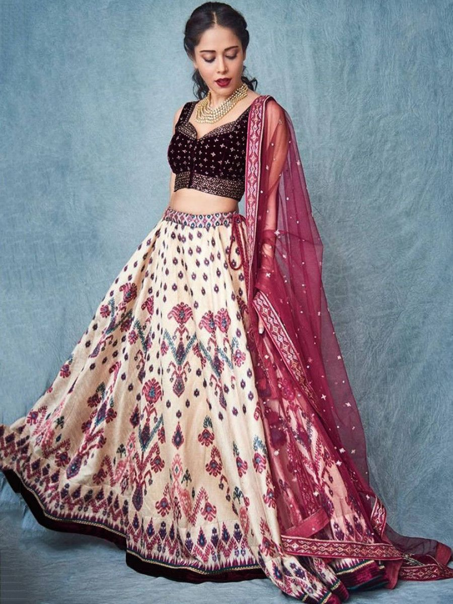Nushrat Bharucha Wine Digital Printed Velvet Wedding Wear Lehenga Choli