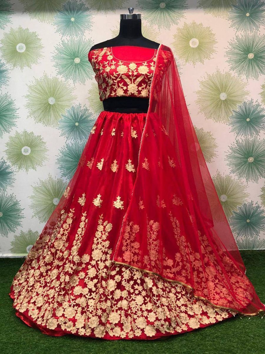 Red Thread Worked Heavy Net Festival Wear Lehenga Choli