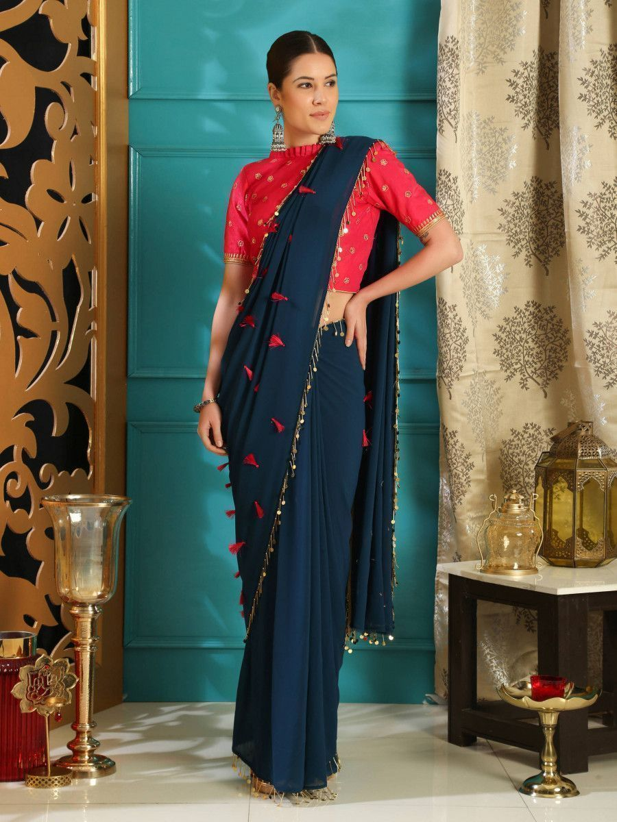 Teal Blue Sequence Pure Georgette Partywear Saree