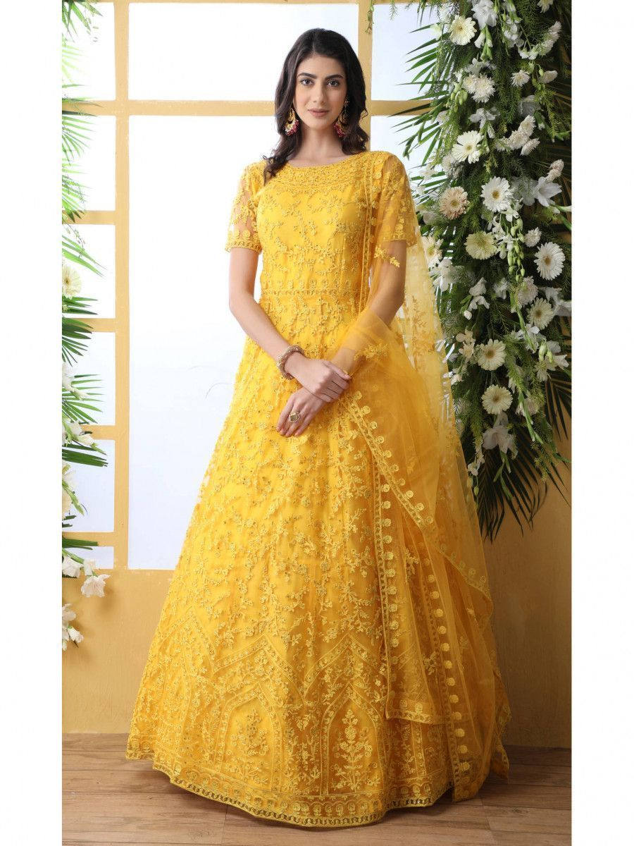 Yellow Thread Embroidered Net Party Wear Anarkali Gown With Dupatta