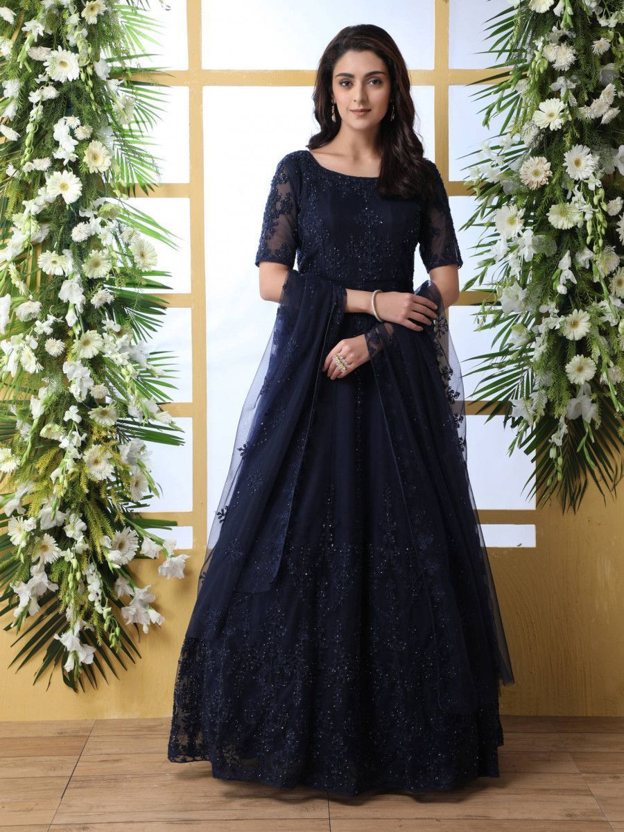 Navy Blue Thread Embroidered Net Party Wear Anarkali Gown With Dupatta