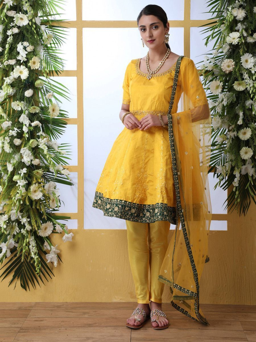 Mustard Yellow Thread Embroidered Art Silk Wedding Wear Frock Salwar Kameez