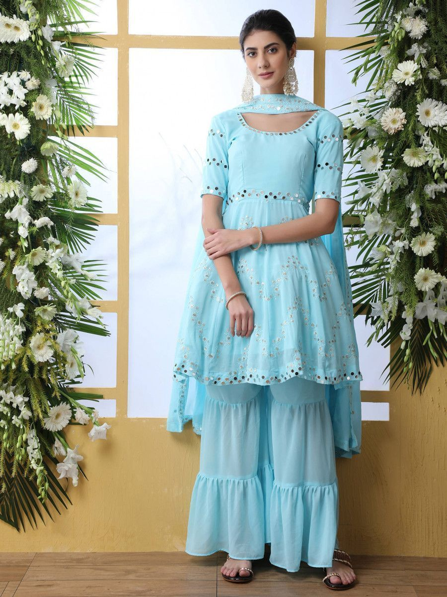 Sky Blue Mirror Embroidered Georgette Party Wear Frock Gharara Suit