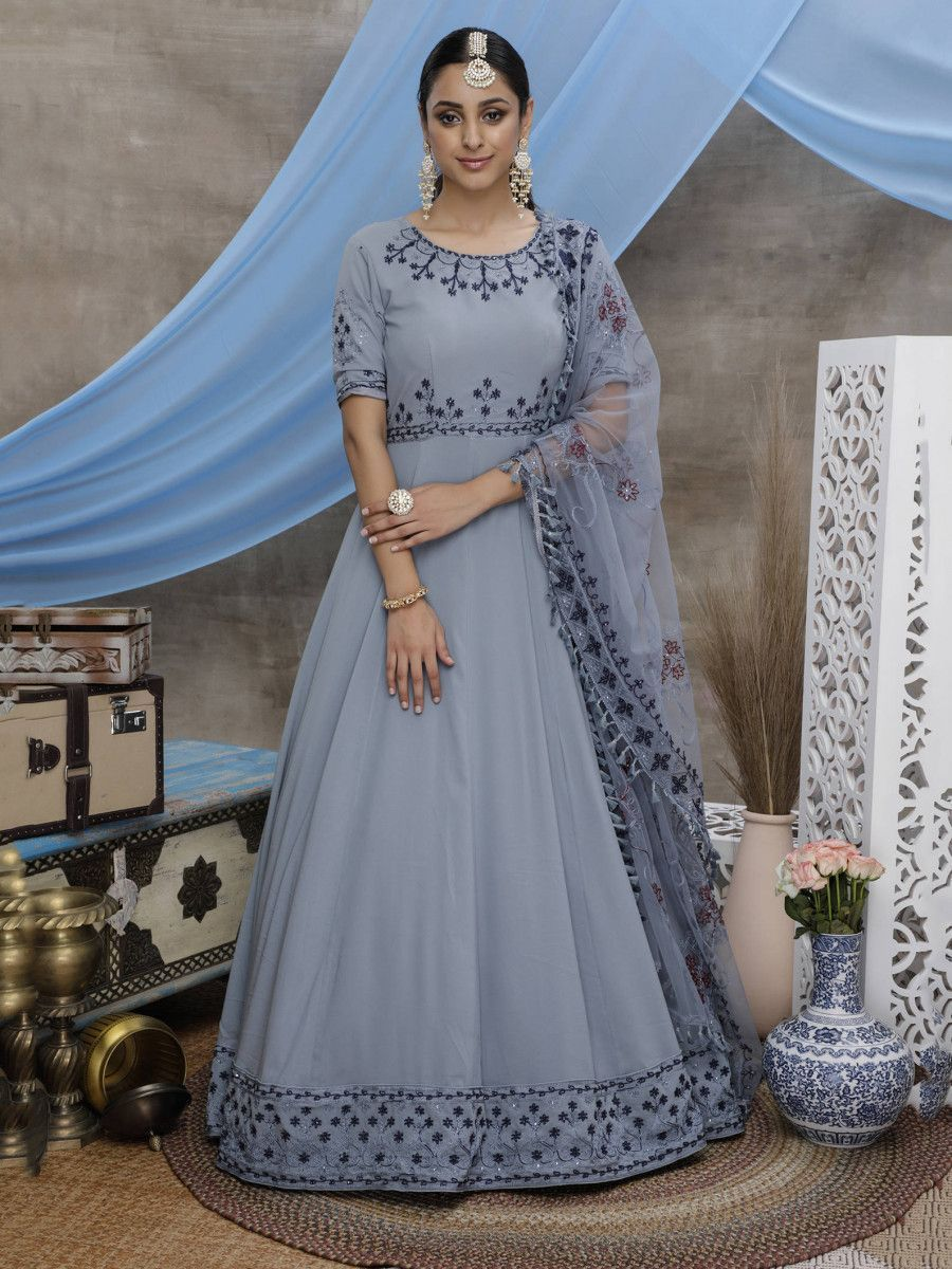 Grey Thread Work Georgette Festive Wear Long Anarkali Gown