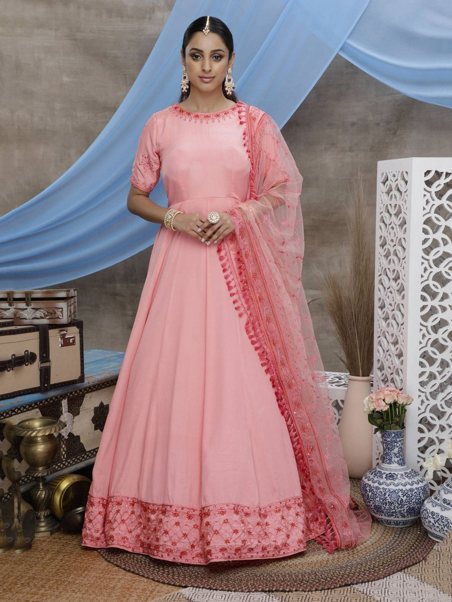Pink Thread Work Silk Festive Wear Long Anarkali Gown