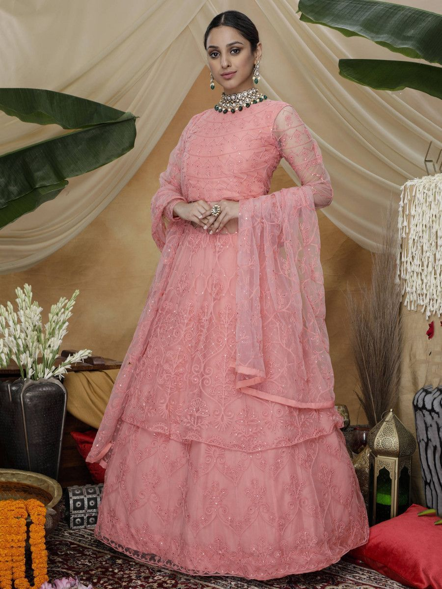 Pink Thread Work Net Party Wear Lehenga Suit