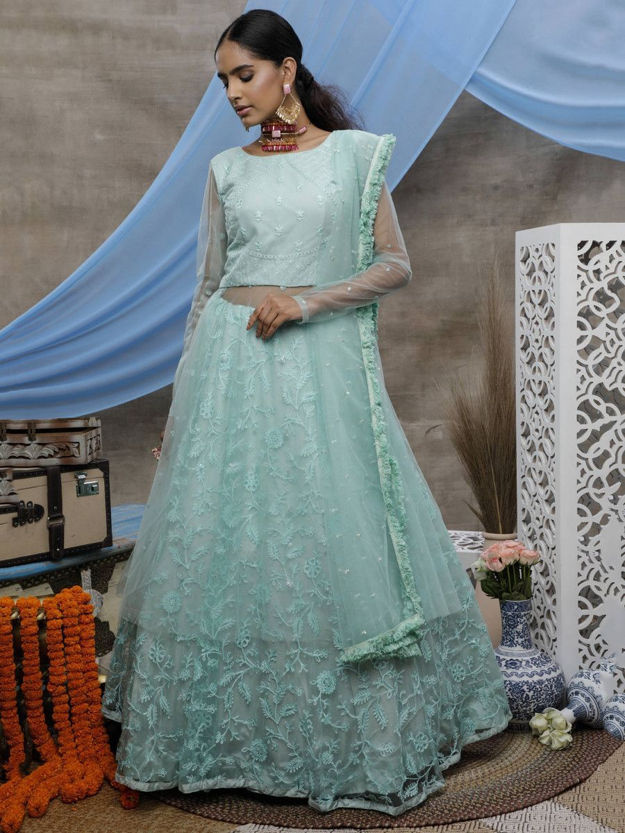 Aqua Blue Thread and Stone Work Net Long Party Wear Lehenga Suit