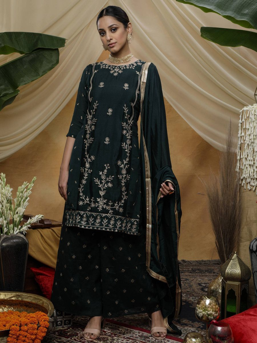 Green Embroidered Chinon Festive Palazzo Suit