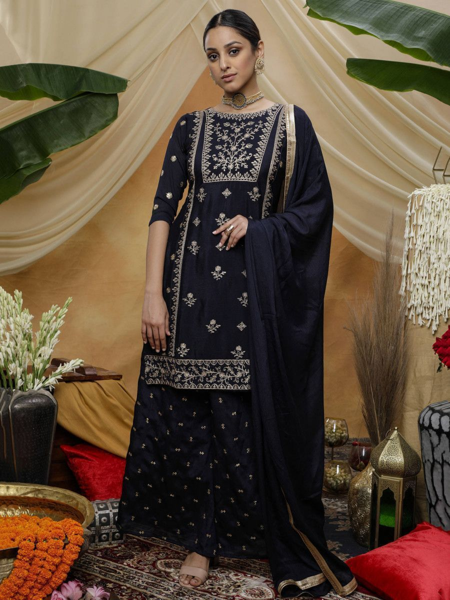 Black Embroidered Chinon Festive Palazzo Suit