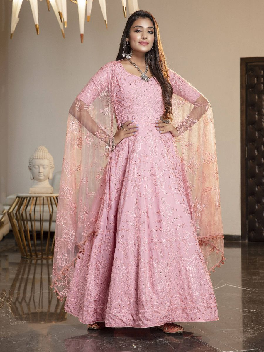 Pink Stone Thread Embroidered Georgette Party Wear Anarkali Gown
