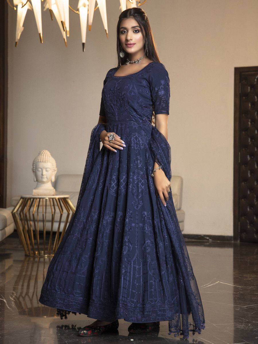 Navy Blue Stone Thread Embroidered Georgette Party Wear Anarkali Gown