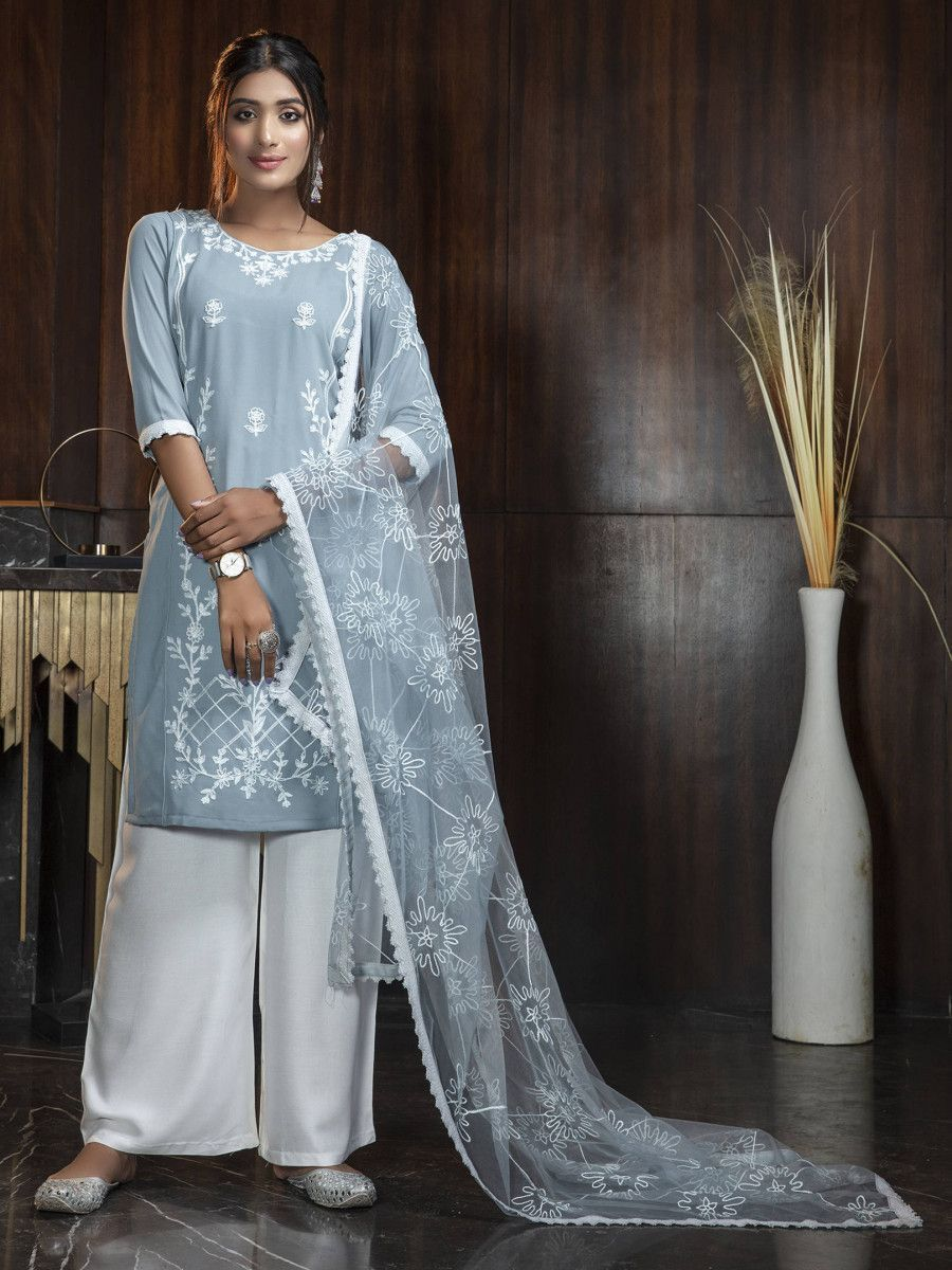 Sky Blue Thread Embroidery Work Festival Wear Salwar Kameez