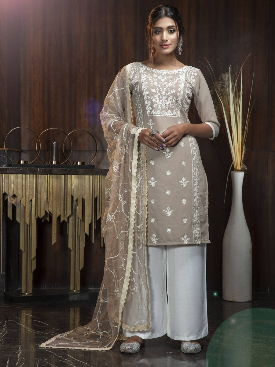Beige White Thread Embroidery Work Festival Wear Salwar Kameez
